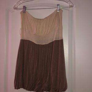 Brown strapless shirt